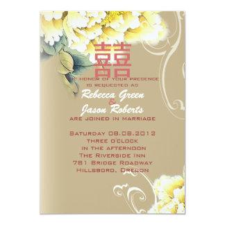mariage chinois floral de pivoine vintage moderne faire-part