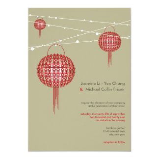 Mariage chinois moderne de doubles lanternes de carton d'invitation  12,7 cm x 17,78 cm