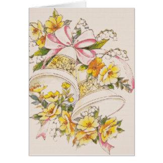 Mariage-Cloche-Jaune-Fleurs épousant des invitatio Cartes De Vœux