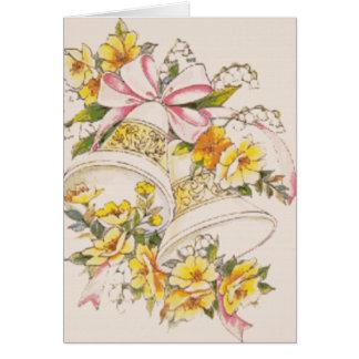 Mariage-Cloche-Jaune-Fleurs RSVP Carte De Correspondance