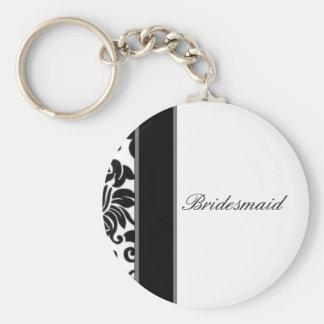 Mariage damassé blanc et gris noir rayé réglé porte-clé rond