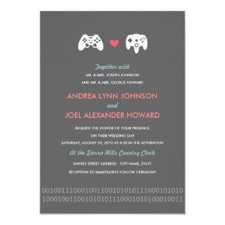 Mariage d'amour de contrôleur de Gamer Carton D'invitation 12,7 Cm X 17,78 Cm