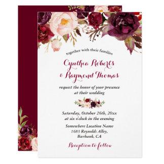 Mariage de automne chic floral rouge de Bourgogne Carton D'invitation 12,7 Cm X 17,78 Cm