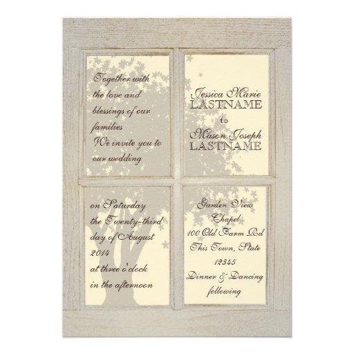 Mariage de carreau de fenêtre de pays invitations personnalisées