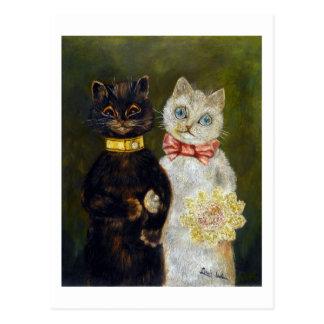Mariage de chat, Louis Wain Cartes Postales