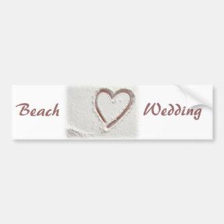 Mariage de coeur de sable de plage autocollant de voiture