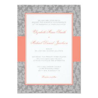 Mariage de corail et gris de remous de damassé carton d'invitation  12,7 cm x 17,78 cm
