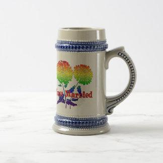 Mariage de fleur d'arc-en-ciel tasses à café