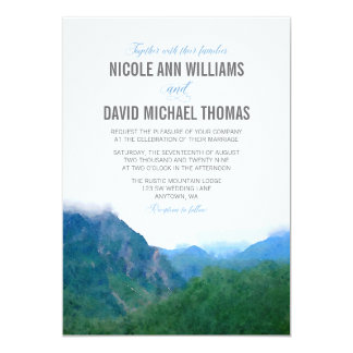 Mariage de montagne d'aquarelle carton d'invitation  12,7 cm x 17,78 cm