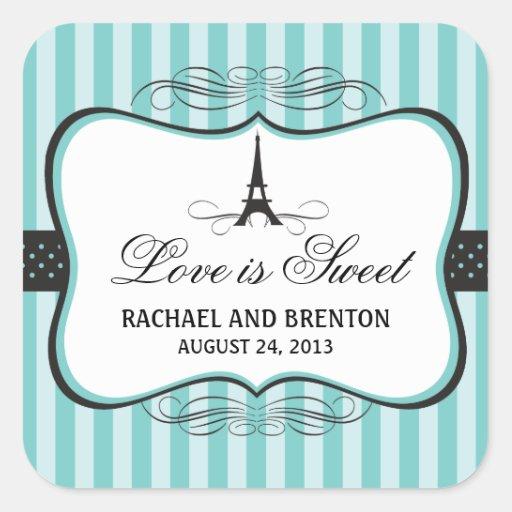Mariage de Paris de Tour Eiffel Stickers Carrés