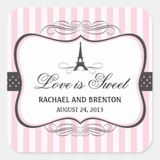 Mariage de Paris de Tour Eiffel Autocollants Carrés