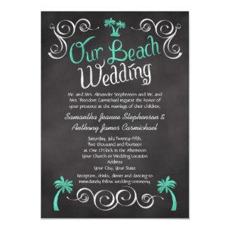 Mariage de plage de palmier de turquoise de invitation