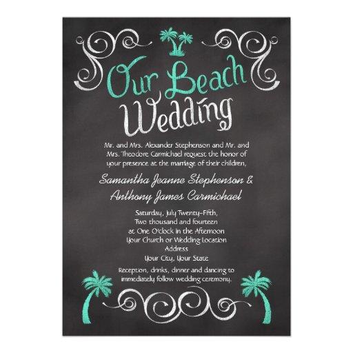 Mariage de plage de palmier de turquoise de tablea invitation