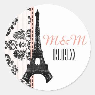 Mariage décoré d'un monogramme rose de Tour Eiffel Sticker Rond