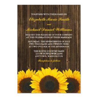 Mariage en bois de grange de tournesols carton d'invitation  12,7 cm x 17,78 cm