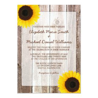 Mariage en bois de grange rustique de tournesol carton d'invitation  12,7 cm x 17,78 cm