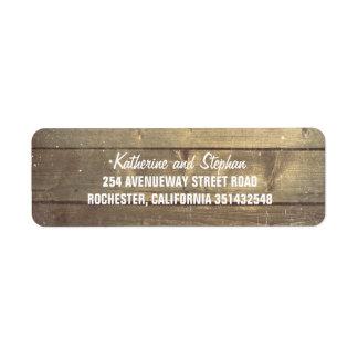 Mariage en bois de grange rustique étiquette d'adresse retour