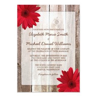 Mariage en bois de grange rustique rouge de carton d'invitation  12,7 cm x 17,78 cm