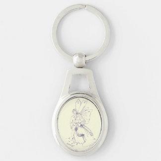 Mariage féerique porte-clé ovale argenté