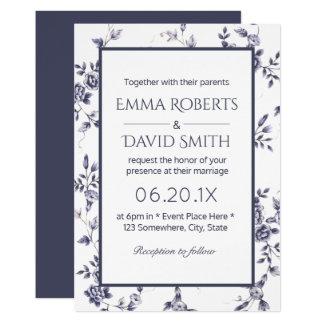 Mariage floral bleu et blanc vintage de porcelaine carton d'invitation  12,7 cm x 17,78 cm