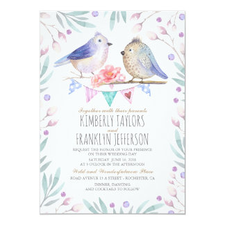 Mariage floral d'arbre d'oiseaux de rose mignon de carton d'invitation  12,7 cm x 17,78 cm