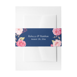 Mariage floral de bleu marine de beau jardin rose bandeaux de faire-part