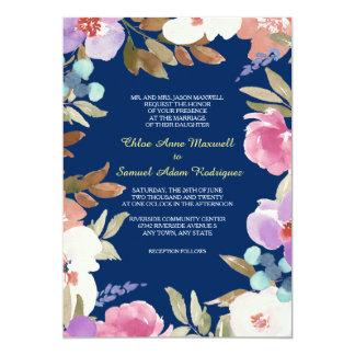 Mariage floral de jardin de bleu marine carton d'invitation  12,7 cm x 17,78 cm