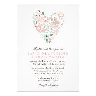 Mariage floral moderne de coeur faire-parts