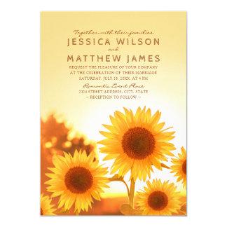 Mariage floral moderne d'été du meilleur tournesol carton d'invitation  12,7 cm x 17,78 cm