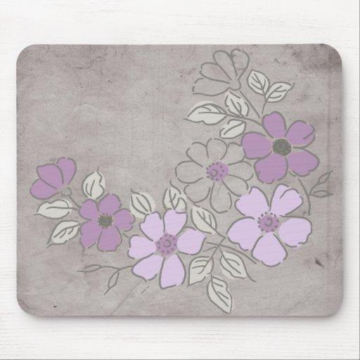Mariage floral pourpre et gris vintage tapis de souris