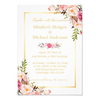 Mariage formel blanc d'or chic floral élégant carton d'invitation  12,7 cm x 17,78 cm