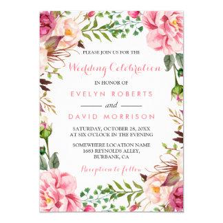 Mariage formel d'enveloppe florale rose romantique carton d'invitation  12,7 cm x 17,78 cm