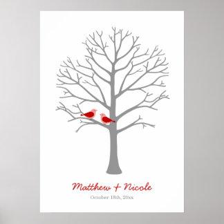 Mariage gris rouge d'arbre d'empreinte digitale poster