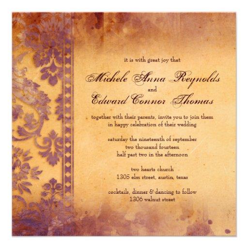 Mariage grunge lilas somptueux de dentelle de dama faire-parts
