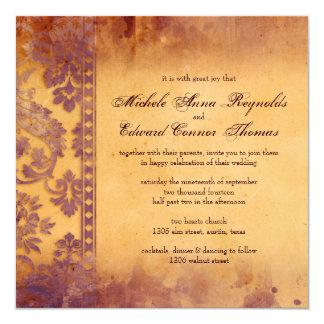 Mariage grunge lilas somptueux de dentelle de faire-parts