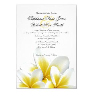 Mariage hawaïen jaune de Frangipani de Plumeria Carton D'invitation 12,7 Cm X 17,78 Cm