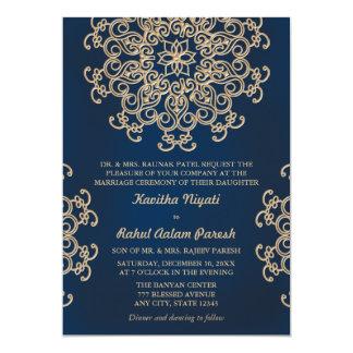 Mariage inspiré indien de marine et d'or carton d'invitation  12,7 cm x 17,78 cm