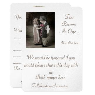 Mariage Inviatations : Deux deviennent un Carton D'invitation 12,7 Cm X 17,78 Cm