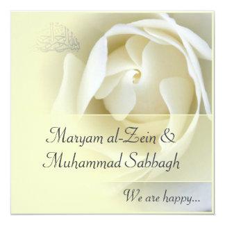 Mariage jaune islamique/fiançailles de rose blanc carton d'invitation  13,33 cm