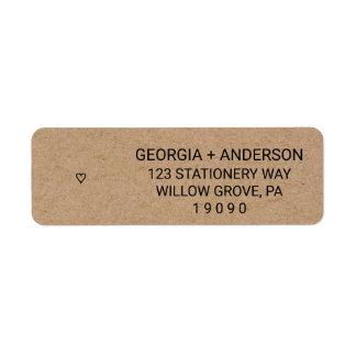 Mariage moderne rustique de coeur de papier étiquettes d'adresse retour
