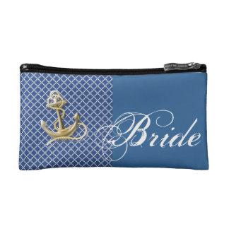 Mariage nautique d'ancre de motif de bleu marine trousses make-up