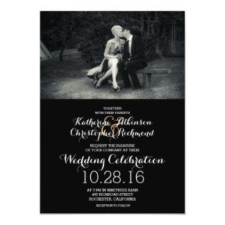 Mariage noir et blanc de photo pure d'élégance carton d'invitation  12,7 cm x 17,78 cm