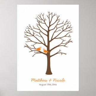Mariage orange d'arbre d'empreinte digitale d'oise poster