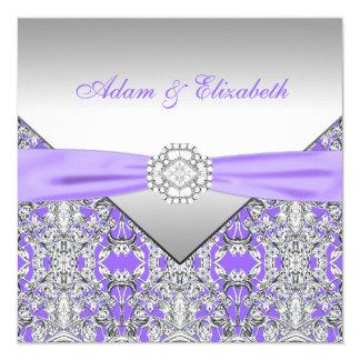 Mariage pourpre élégant de dentelle d'argent et de carton d'invitation  13,33 cm