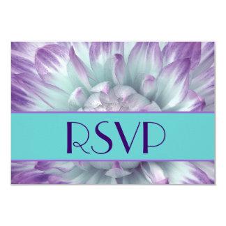 Mariage pourpre et bleu des pétales RSVP de dahlia Carton D'invitation 8,89 Cm X 12,70 Cm