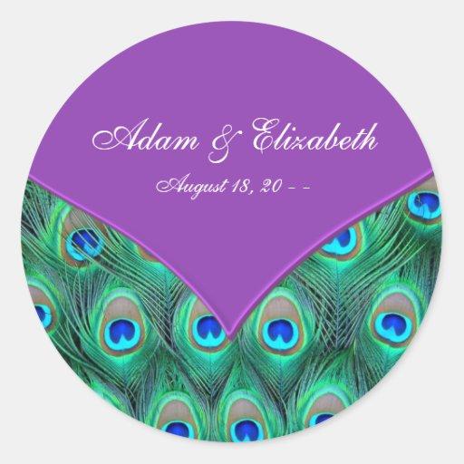 Mariage pourpre violet de paon adhésif rond