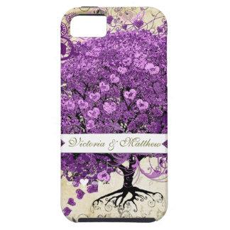 Mariage rayonnant d'arbre de feuille de Purple Coque Case-Mate iPhone 5