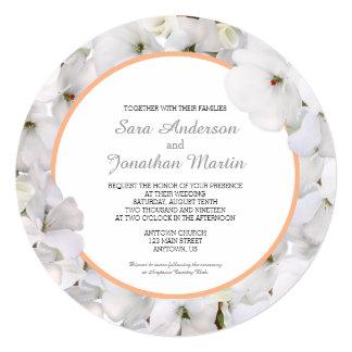 Mariage rond blanc d'accent de couleur de géranium carton d'invitation  13,33 cm