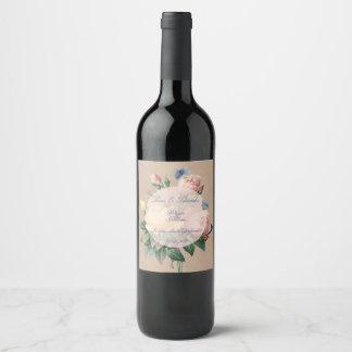 Mariage rose de jardin de papillon de l'anglais étiquette pour bouteilles de vin