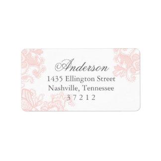 Mariage rose élégant de dentelle étiquette d'adresse